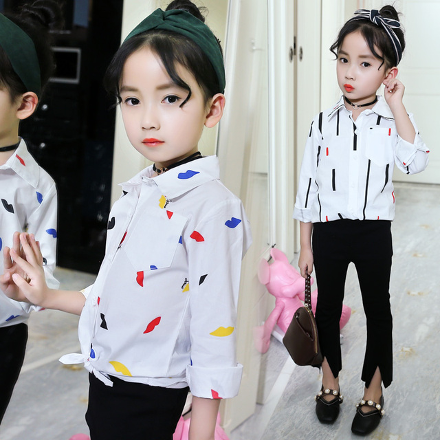 2018 New Girls Tops Kids Long Sleeve Print White Blouses Shirts