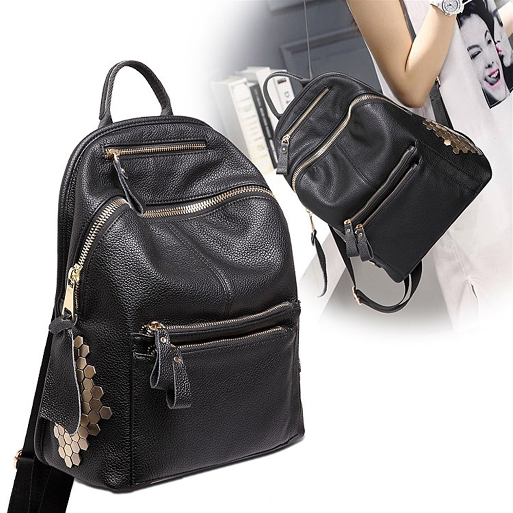c6532850bd89 BICOLOR Vintage Casual New Style Genuine Leather School Bags Top Quality  Hotsale Women Famous Designer Brand Backpack Teenagers-in Backpacks from  Luggage ...