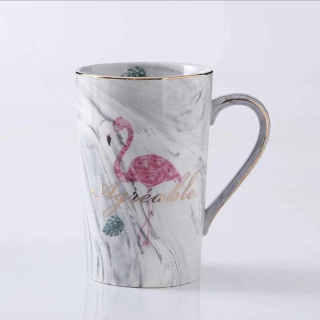 Ceramic Mug Gold Plated Flamingo Milk Coffee Tea mugs With Spoon Handle Household 55 Celsius heating thermostat padOffice Cup
