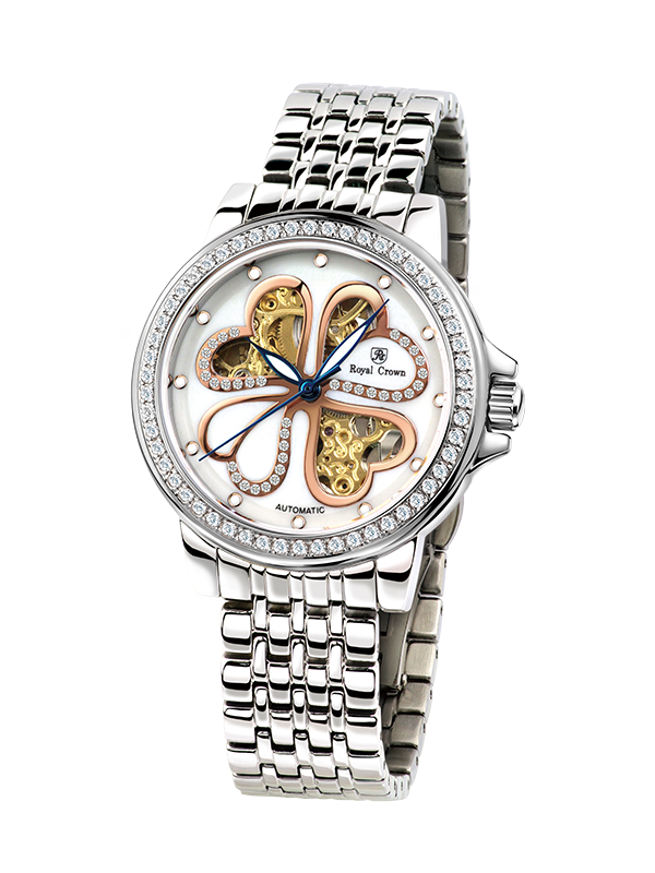 Royal Crown skeleton watch 8450L Italy brand Japan MIYOTA Automatic Woman Silver Stainless Steel Dress Fashion Ladies Watch the silver crown