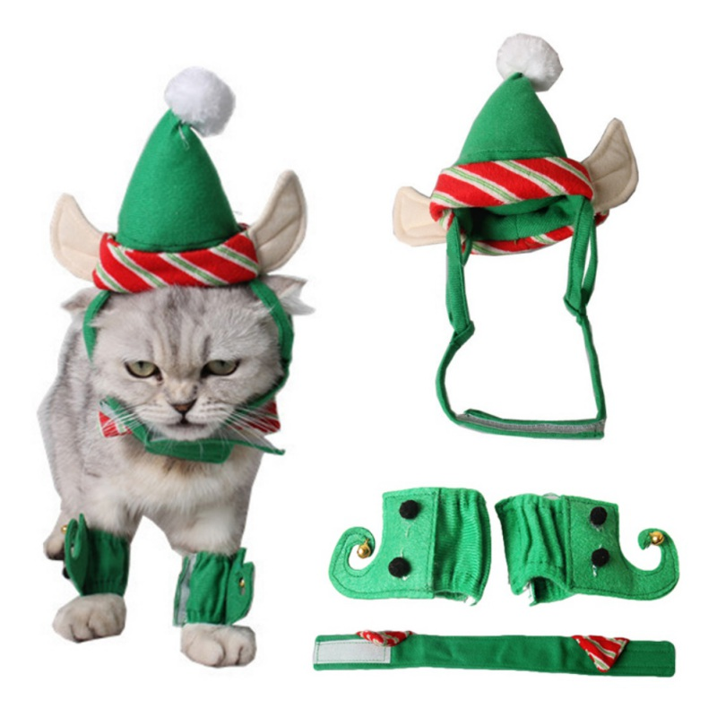 Pet Dog Cat Hat Teddy Puppy Festivals 4 sets of Green Feet Cats and Dogs Ear Hole Dog Hat ...