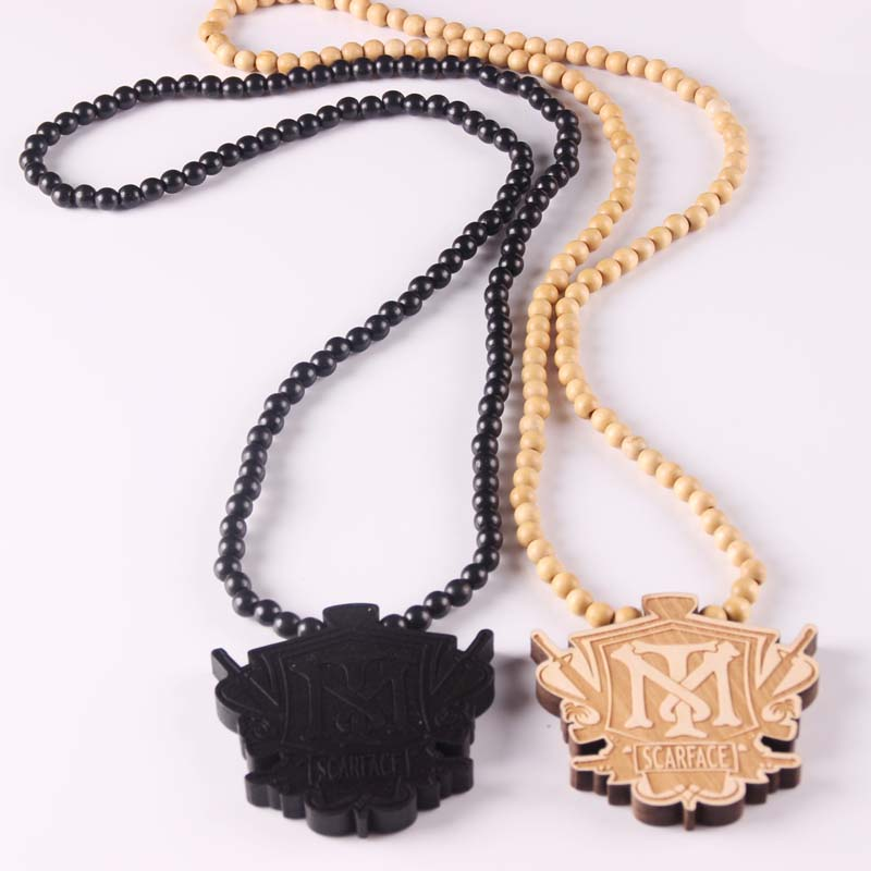 Free Shipping Scarface TM Pendant Good Wood Hip-Hop Casual NYC Men Casual Necklace Natural Color Wholesale