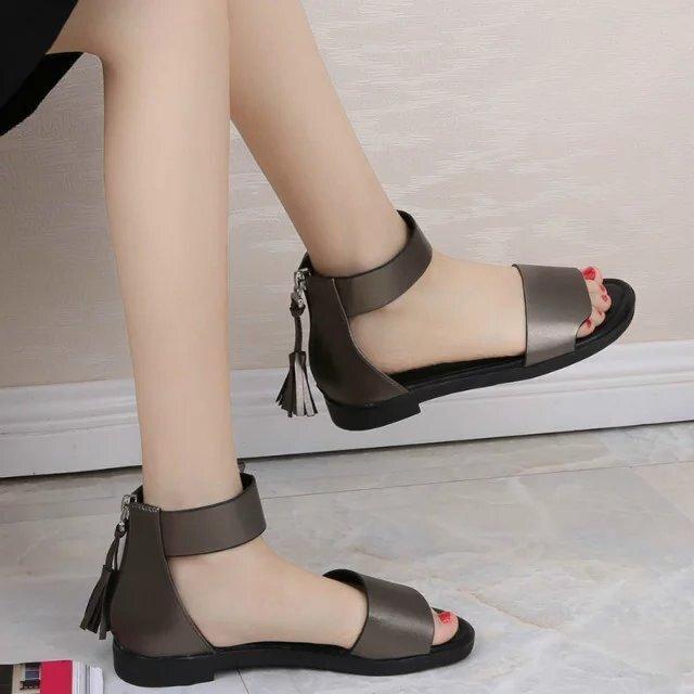 bf80b897b NAUSK Flat Heel Sandals Women 2018 Summer Comfortable Med Tassels Open Toe  Fashion Pumps Shoes Woman Casual Sandalias Mujer