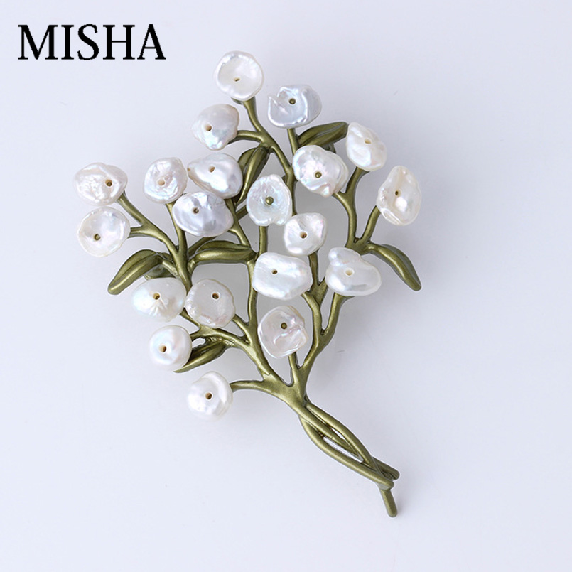 MISHA Brooch Jewelry Brand Silver 925 Fine Jewelry High Quality Brooch Pins Natural Pearl Flower Brooch Wedding Accessories2409 стайлер babyliss bab2275tte