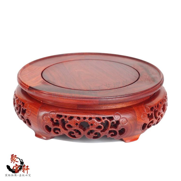 red wingceltis woodcarving handicraft circular base of real wood of Buddha are recommended vase furnishing articles sending rope rooster mascot guard natural obsidian statue of the buddha real life