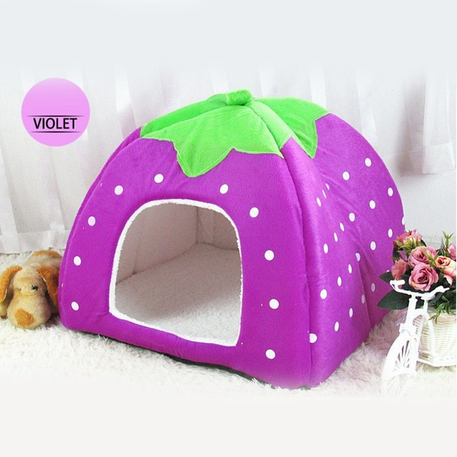 Pet Cat Dog House Sleeping Bag Foldable Soft Winter Leopard Strawberry Cave Pupply Cute Kennel Nest Dog Fleece Cat Bed