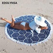 Check Price New Arrivals Round Beach Blanket With Tassel Yoga mat Mandala Blanket Beach Roundie Circle Blanket Round Tapestry #G2
