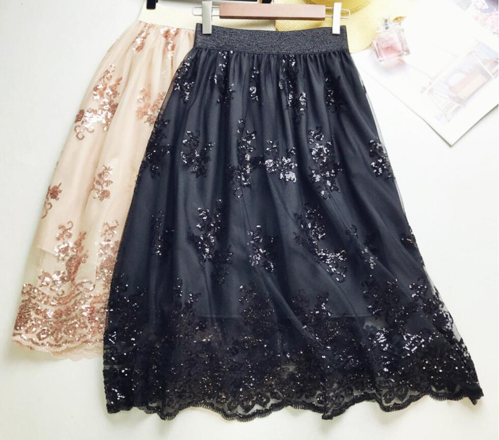 2018 Skirts New Women Girls Middle Long Calf Elastic Force Black Khaki Sequins Lace Sexy Splicing High Waist Cultivation Downloa 1