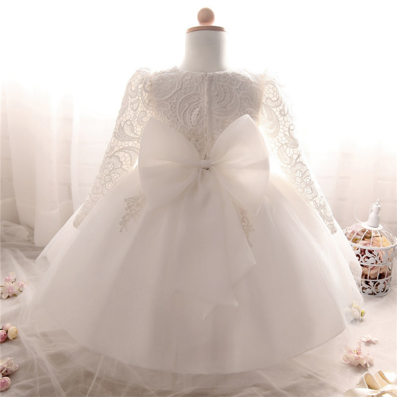 New Born Baby Girl Dress Vestido Infantil Bebes White Pink Lace Baby Dress Wedding Party Gowns Long Sleeves Girls Baptism 1 Year pink lace details cold shoulder long sleeves dress