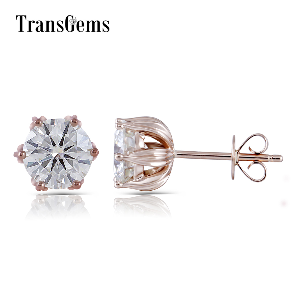 14K Rose Gold 2CTW 6.5mm GH Color Clear Round Brilliant Moissanite Stud Earring Push Back for Women Lotus Flower Shaped four color round stud earring set 4pair