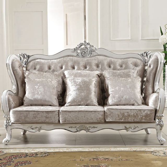 Wholesale Europe classic style sofa furniture oak wood carving with  Bar-series fabric cover L809