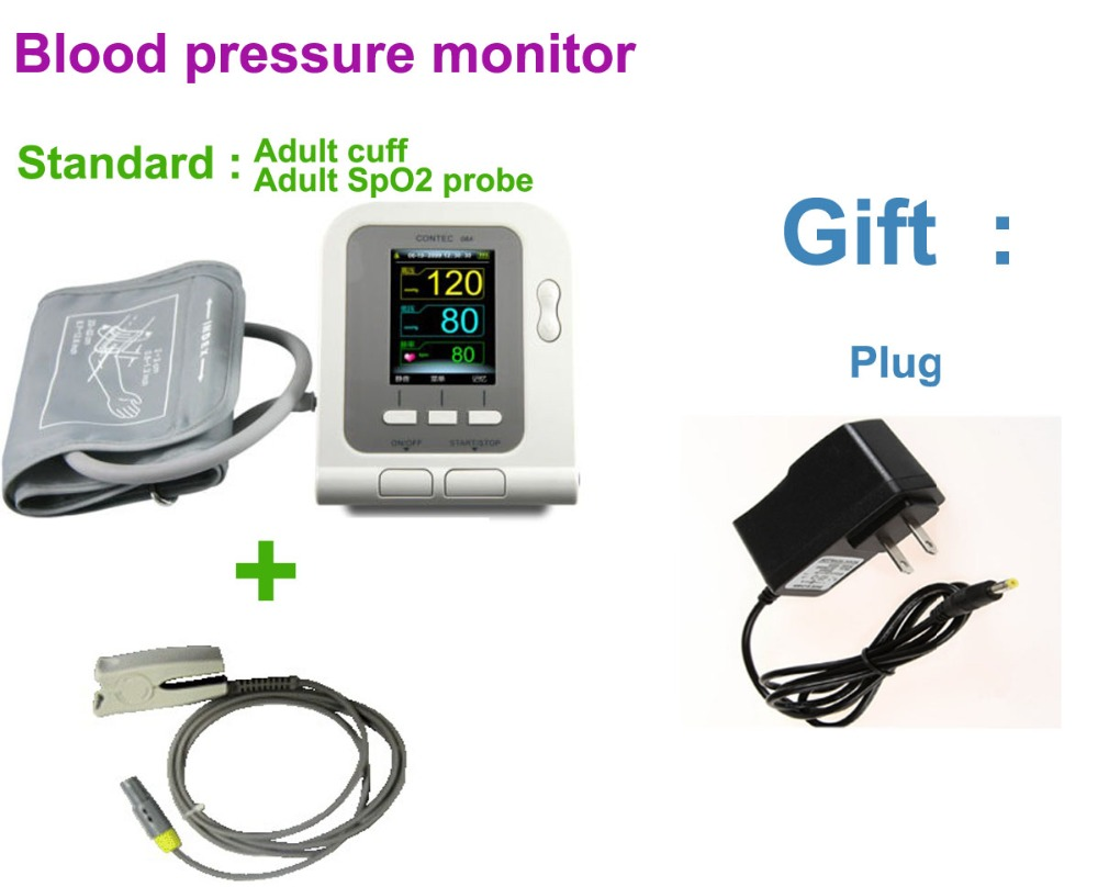 Sphygmomanometer blood pressure CONTEC08A(CE/FDA), with oximeter probe Ambulatory Arm Blood Pressure Pulse Sphygmomanometer free shipping fully automatic arm digitl blood pressure monitor sphygmomanometer color lcd with ce fda