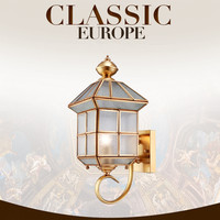 85 260V European Simple Grid Glass Copper Wall Lamp Art Deco Led Wall Lamp For Hallway