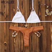 NIDALEE 2017 Bikinis Women Shell Bikinis Set Swimwear Women Swimsuit Push Up Swim Suit Biquini Tankini