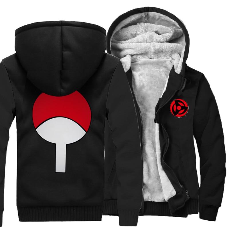 2019 New Naruto Hoodies Uchiha Syaringan Sweatshirts Hooded Men Fashion Hokage Ninjia Cartoon Printed Jackets Thick Coats M-5XL