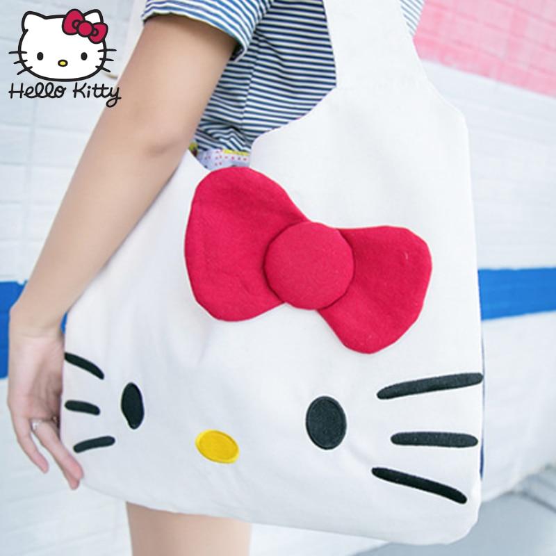 Hello Kitty 2019 Bag Hand Bags Fashion Single Shoulder Diagonal Bag Lovely Girls Shopping Nylon Portable Plush Backpack Baby KT