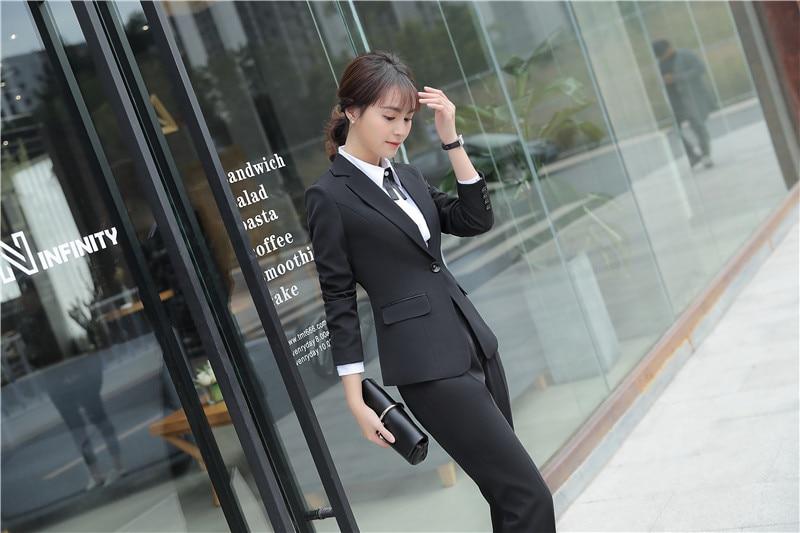 2018 New Styles Formal Ladies Pantsuits With Pants And Jackets Elegant Black Women Blazers Pants Sets Uniform Designs Work Sets