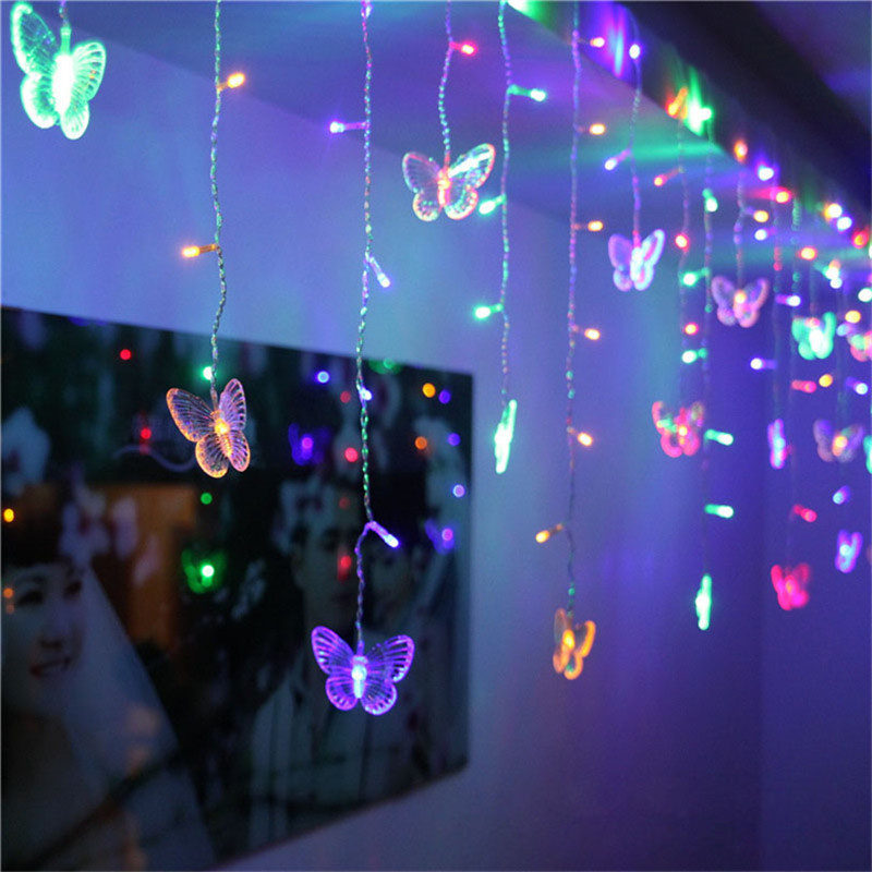 3.5M 96 LEDs Butterfly led string AC220V/AC110V Waterproof Curtain holiday Lights Christmas new year Garland Wedding Decor