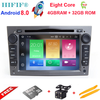 HIFIF 2 Din Android 8.0 For Opel Astra HJG Steering Wheel Car DVD Player Multimedia HD1080P Wifi 3G Bluetooth OBD2 USB SD AUX