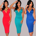 Sexy Club Dress 2015 Deep V-Neck Bodycon Formal dresses Evening Party wear Midi Pencil Dress for women vintage dress Female