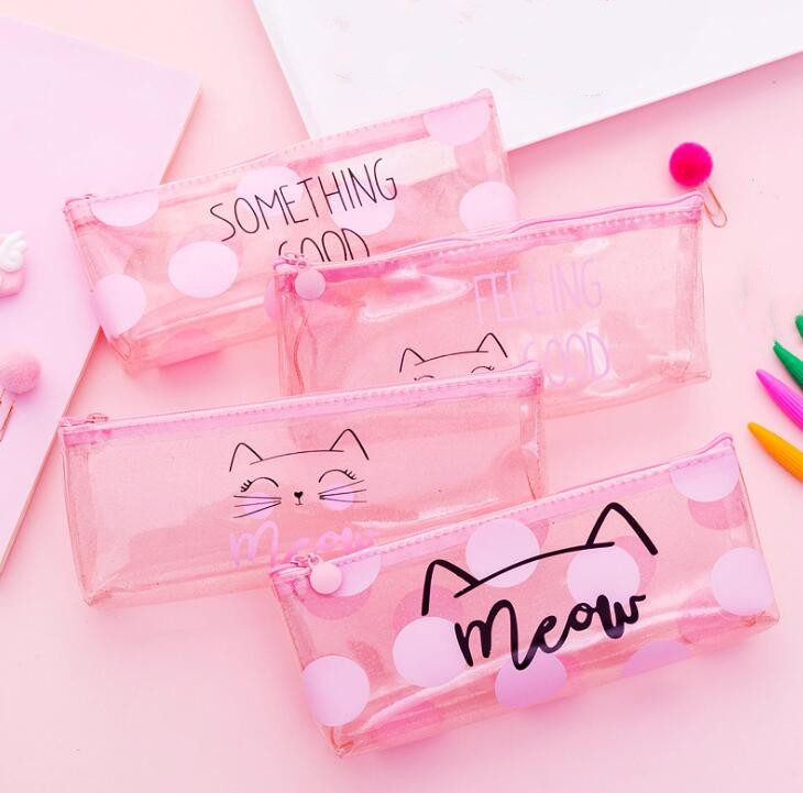 Cute Cat Pencil Cases For Girls PVC Transparent Pen Bag School Stationery Pouch
