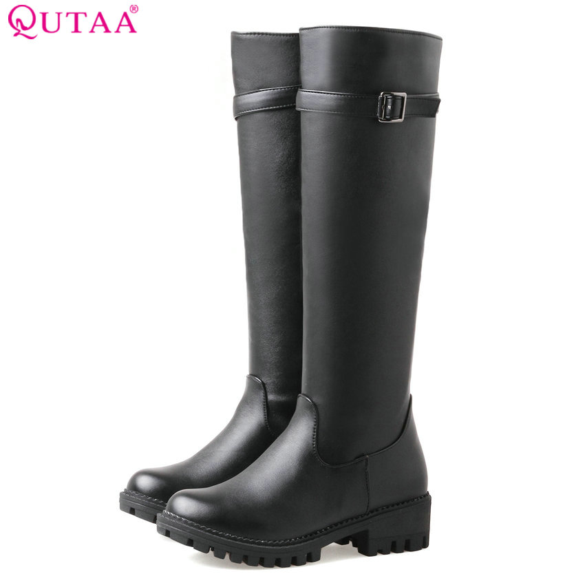 QUTAA 2018 Women Knee High Boots Buckle Design Fashion Square Heel Round Toe Westrn Style All Match Women Boots Size 34-43 qutaa 2017 women over the knee high boots all match pointed toe high quality thin high heel pointed toe women boots size 34 43