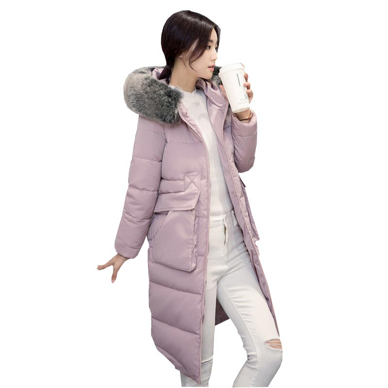 Korean plus size slim down parkas 2016 new winter thicken warm long wadded jacket faux fox fur collar hooded overcoats kl0646 2016 new hot winter thicken warm woman down jacket coat parkas outerwear hooded raccoon fur collar long plus size xxxl slim cold