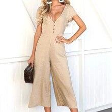 Women's V-neck button jumpsuit Summer solid color jumpsuit Women casual jumpsuit large size Mono casual H-NEW