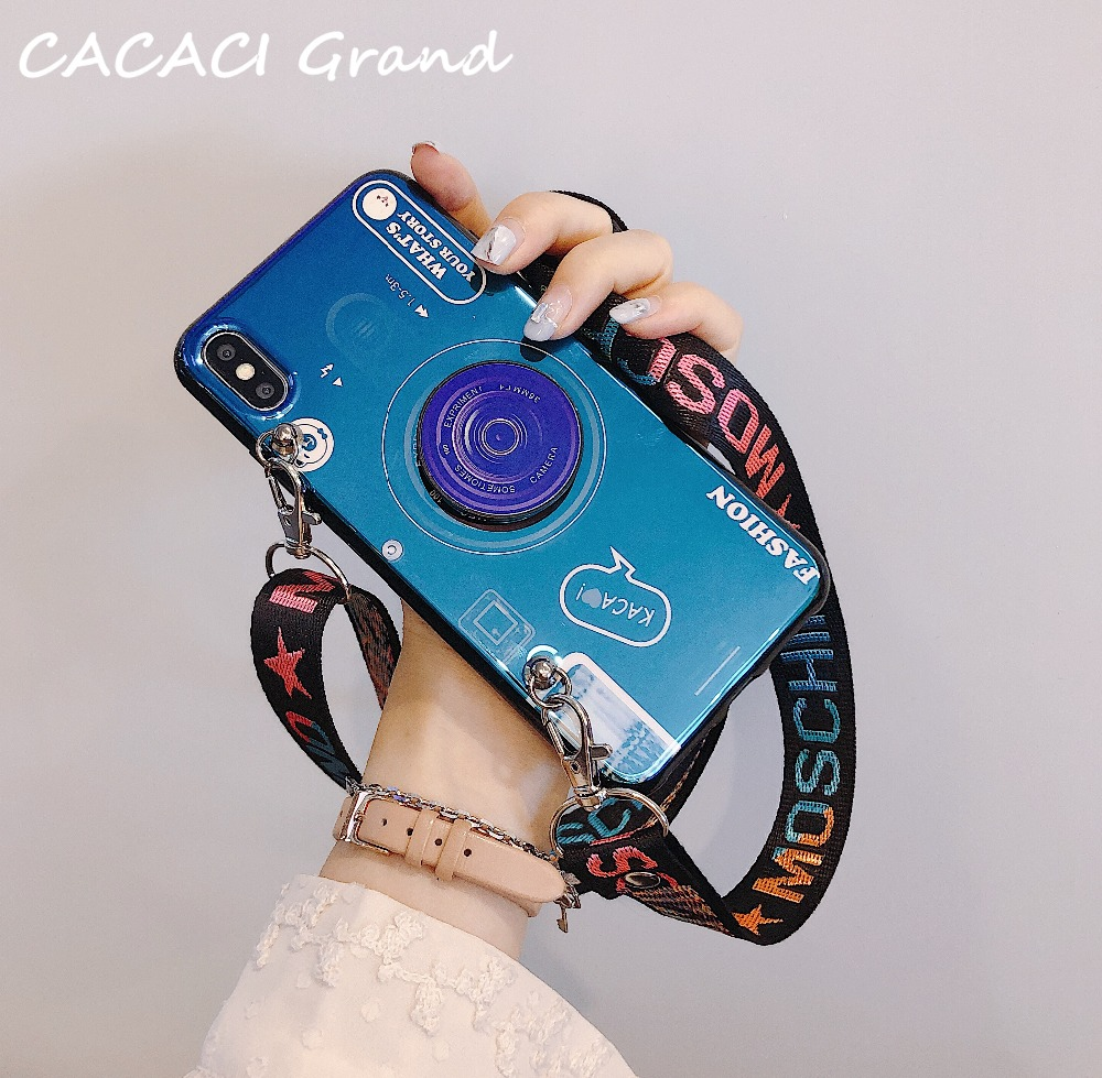 3D Camera case for huawei P30 Pro P20 Lite P9 P10 lite Plus P Smart Nova 4 3i 3 retro soft tpu cover coque Lanyard stand holder