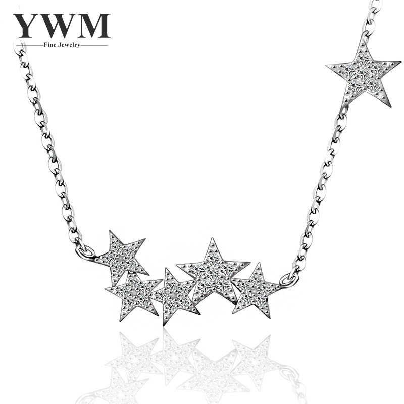 YWM 925 Sterling Silver Meteor Shower Necklace Jewelry Stars Statement Necklace Korean Fashion Jewelry for Women Best Gift