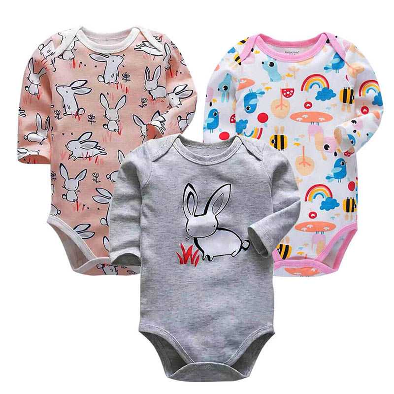 Newborn Bodysuit Baby Babies Bebes Clothes Long Sleeve Cotton Printing Infant Clothing 0-24 Months 3pcs/lot