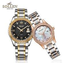 Оригинальные Любителей Моды Часы Кварцевые Люксовый бренд SOLLEN Водонепроницаемые часы мужчины женщины Аналоговые Наручные Часы час Derss часы
