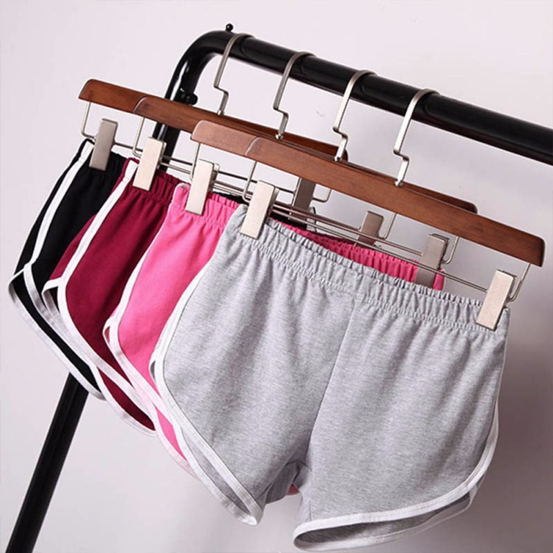 New 2017 Women Cotton Blend Summer Shorts 4 Colors Contrast Binding Side Split Elastic Waist Patchworf Casual Shorts TT