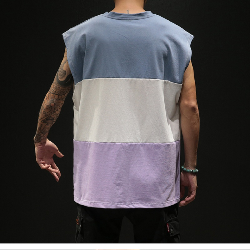Fashion Casual Cotton Stitching Large Size Summer Men 39 s Clothing Vest Sleeveless Fitness Men 39 s Vest Bodybuilding in Tank Tops from Men 39 s Clothing