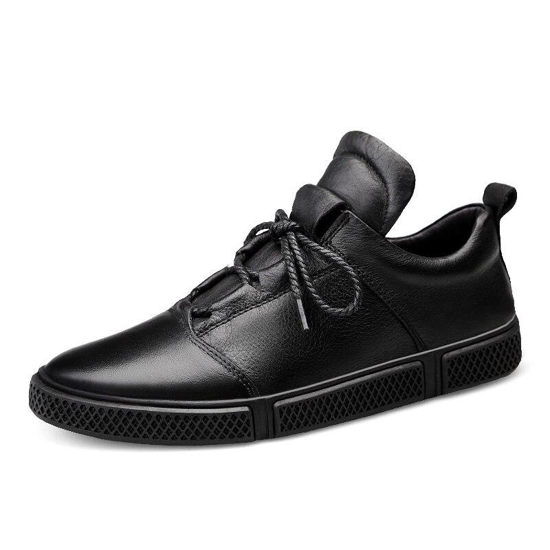 CLAX الرجال أحذية من الجلد جلد طبيعي الربيع الخريف حذاء كاجوال الذكور رياضية الأبيض الأزياء المشي الأحذية chaussure أوم-في أحذية رجالية غير رسمية من أحذية على  مجموعة 2