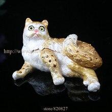Kats Sitting Cats Trinket Box Collectible Animal Cat Figurine Statue Figure Cat Jewelry Trinket Box