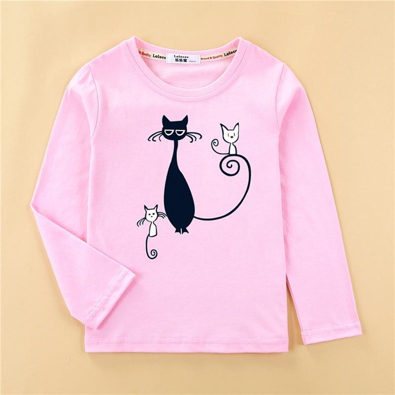 Printed tees kitten pattern girls t-shirt fashion long sleeved clothes cute cat design baby girl tops full cotton child tshirt 1