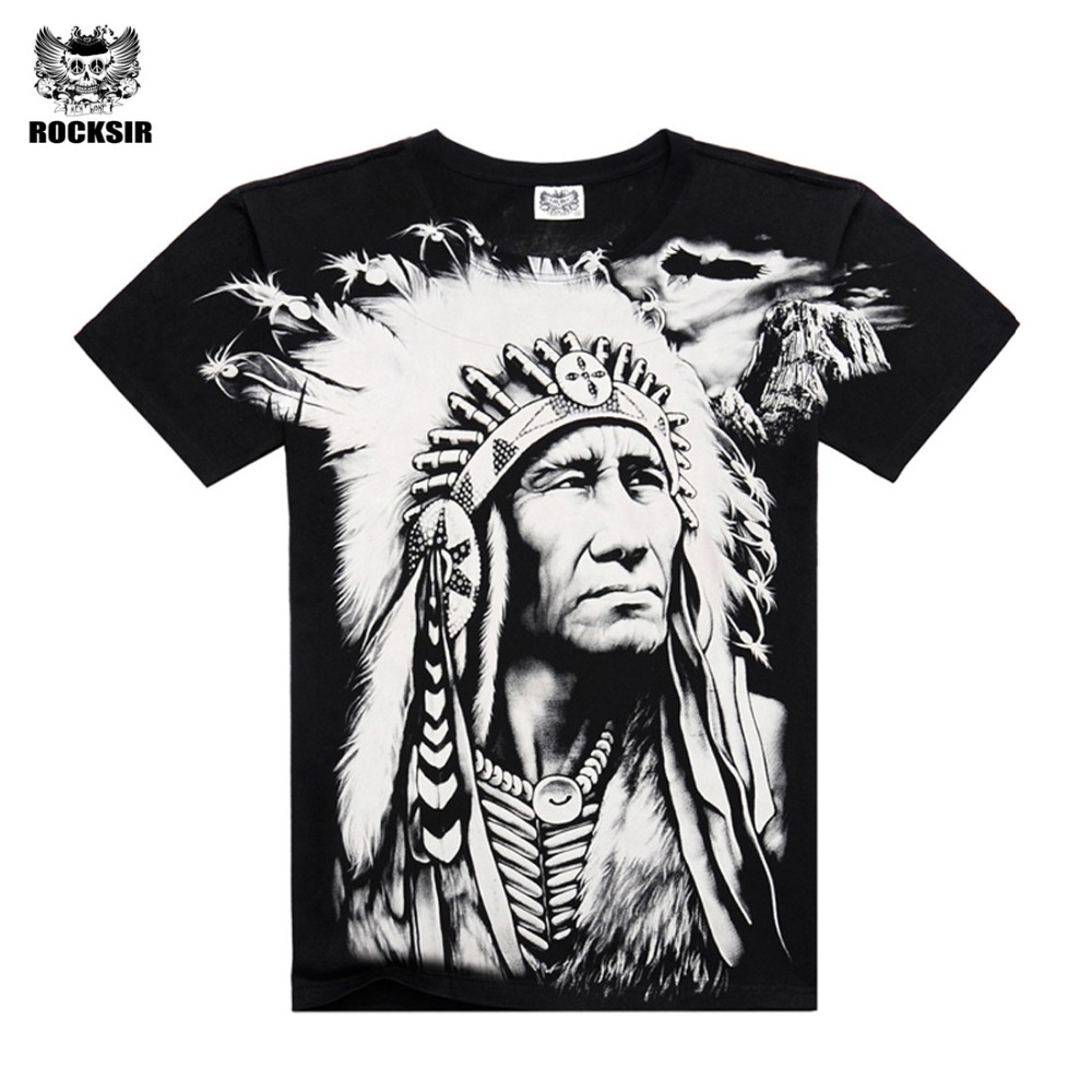 New Summer Cool Mens Cotton Short-sleeve 3D Full Printed Indian Character Mens Tops Hip Hop Casual Black t Shirts Streetwear