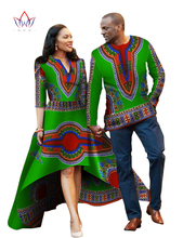 Autumn New Designs Married Couple for Lovers African Dress Women Mrs Men Shirt Long Sleeve 2016 Couple Dashiki Dress WYQ05