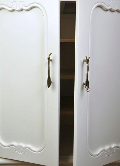 6PCS/Lot Vintage Bronze Knife/Spoon/Fork Kitchen Cupboard Cabinet Wardrobe Door Drawer Pull Handle Zinc Alloy drawer knobs