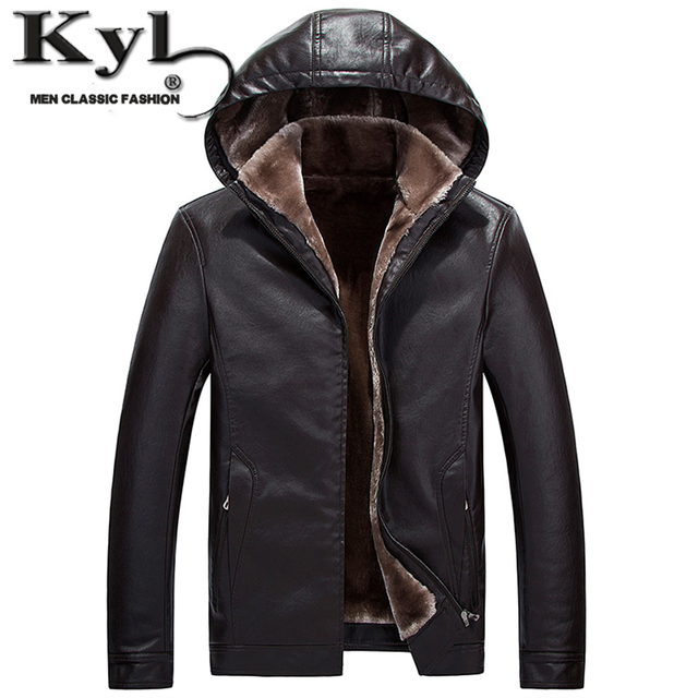 Hooded Detachable Men's Fashion Motorcycle Black PU Faux Leather Jacket With Fur Linning  Men Casual Biker Leather Coat Slim