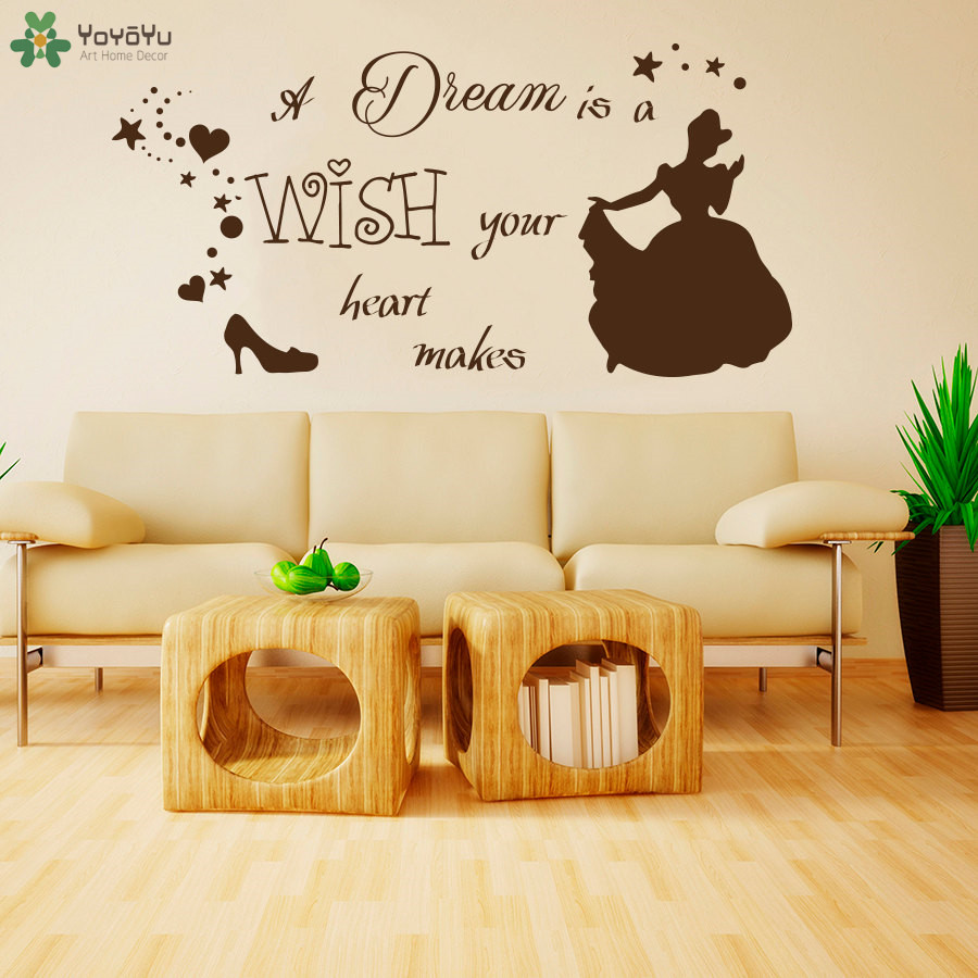 Princess Cartoon Girls Room Wall Decal Quotes Dream Is Wish Your ...