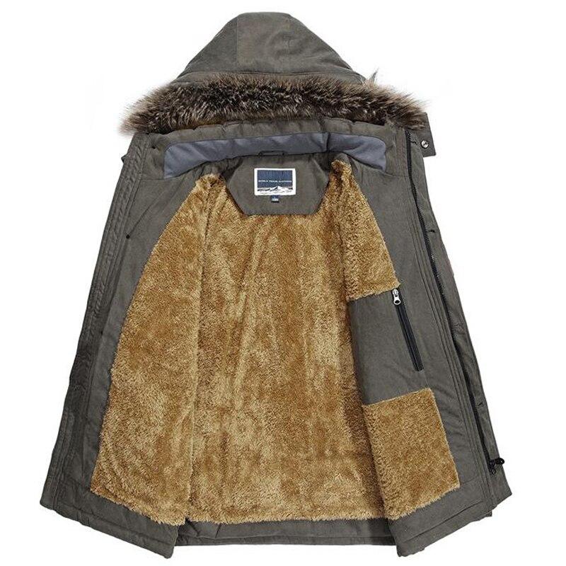 Nowa marka zima Parka mężczyźni moda futro kołnierz z kapturem gruba ciepła kurtka zimowa wełniane dla mężczyzn Liner wiatrówka Plus rozmiar 7XL Parka mężczyźni w Parki od Odzież męska na  Grupa 3