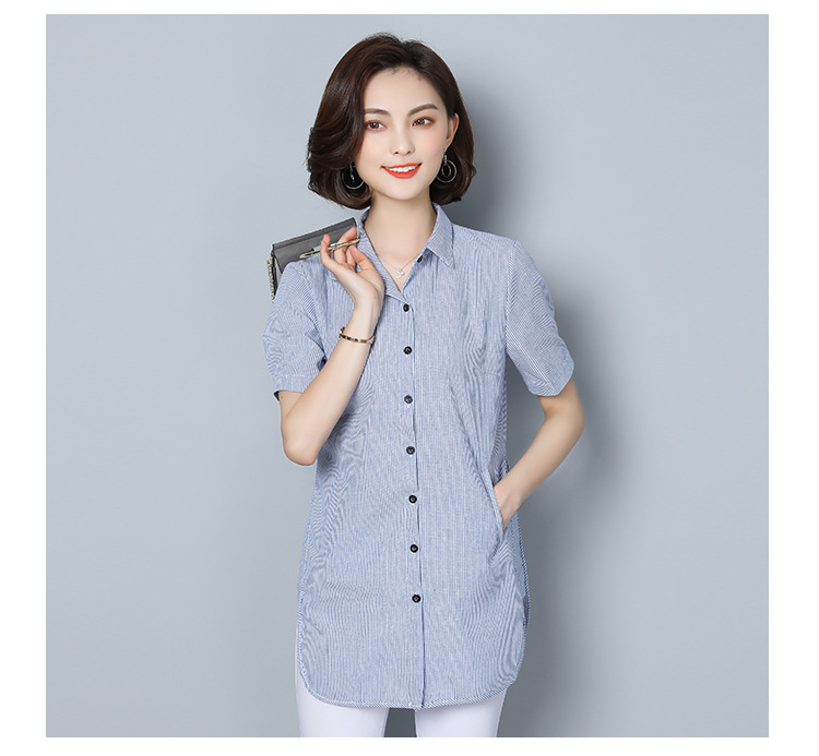 women's blouse shirt fashion woman blouses 2019 short sleeve striped womens clothing tops and blouses ladies tops Plus size 5xl 7