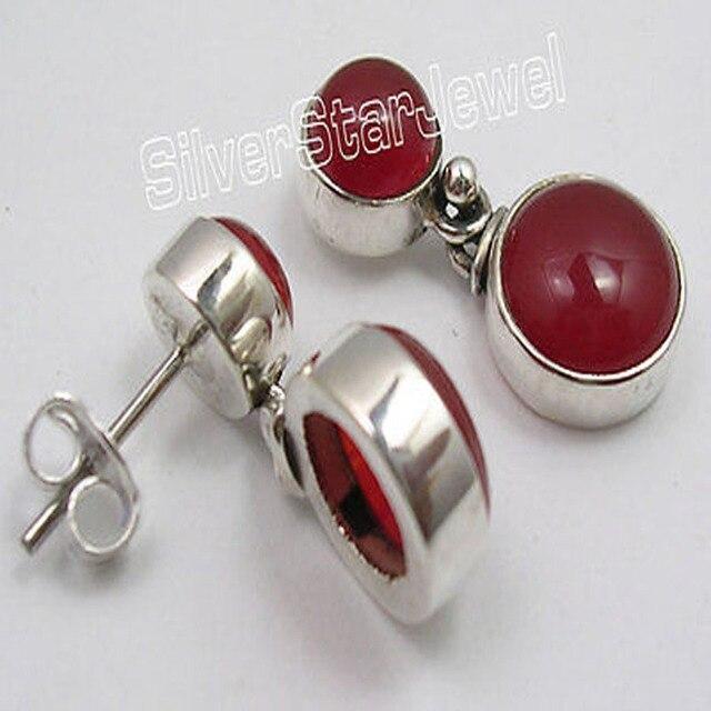 Solid Silver CABOCHON Red Fire CARNELIAN 2 Gem Studs Post Earrings 2.2 CM