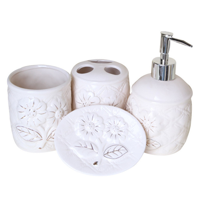 Ceramic Bathroom Accessories 4 Sets European Palace Style Washing Room Sets  Toothpaste Toothbrush Holder Soap Emulsion