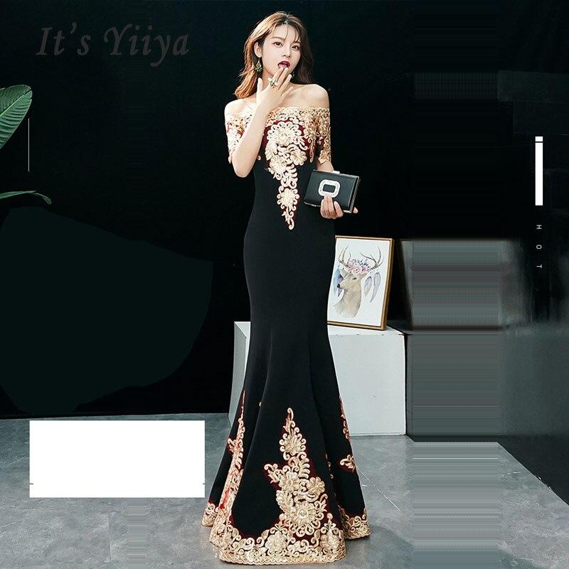 C'est Yiiya Robe De soirée à manches courtes femmes Robe De soirée 2019 col bateau Robe De soirée longue grande taille Sexy Slim Robe De bal E579