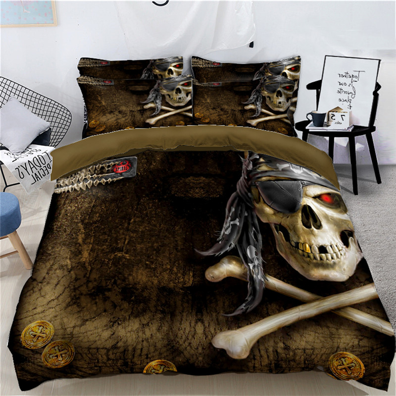 Custom Size Bedding Set Skull Twin