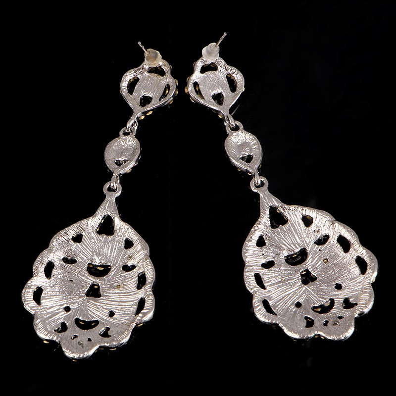 925 sterling silver vintage long earrings for women 585 gold plated Austrian crystal jewelry brincos de festa wedding bridal accessories gifts HB025 (4)