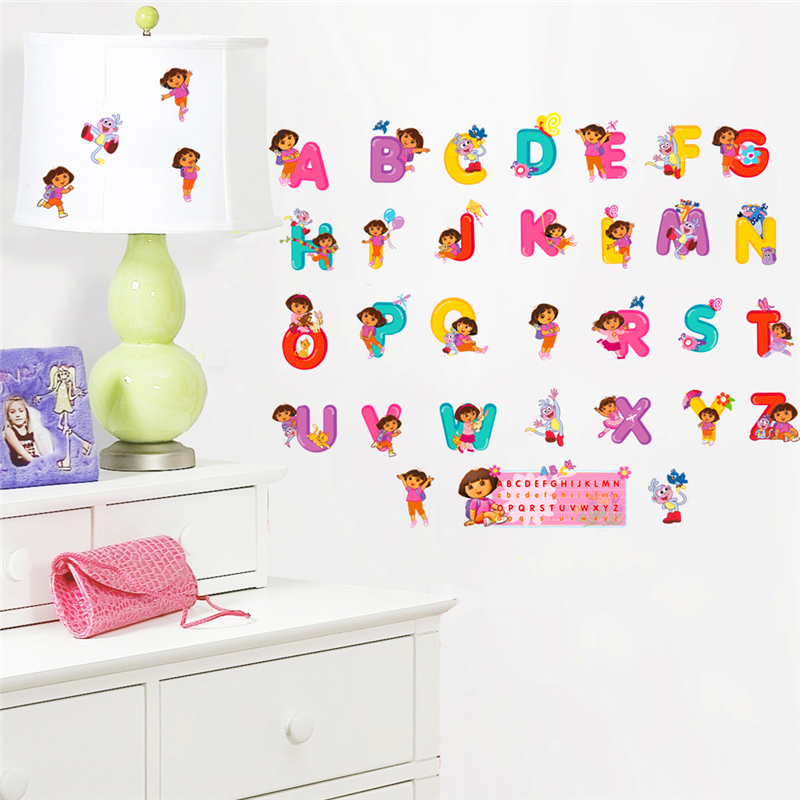 cute Dora education diy 26 letters wall stickers for kids room bedroom wall art decor diy decals
